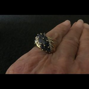 Womans Sapphire and Diamond Ring. 14k gold. Size 5